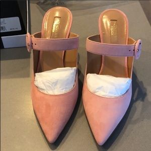 Gorgeous pink suede heels
